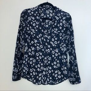 Express floral button down blouse